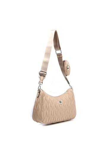 TH Bags TH Bags 1THCW2021033 Örgü Desenli Fermuarlı Cüzdanlı Vizon Kadın Omuz Çantası Vizon